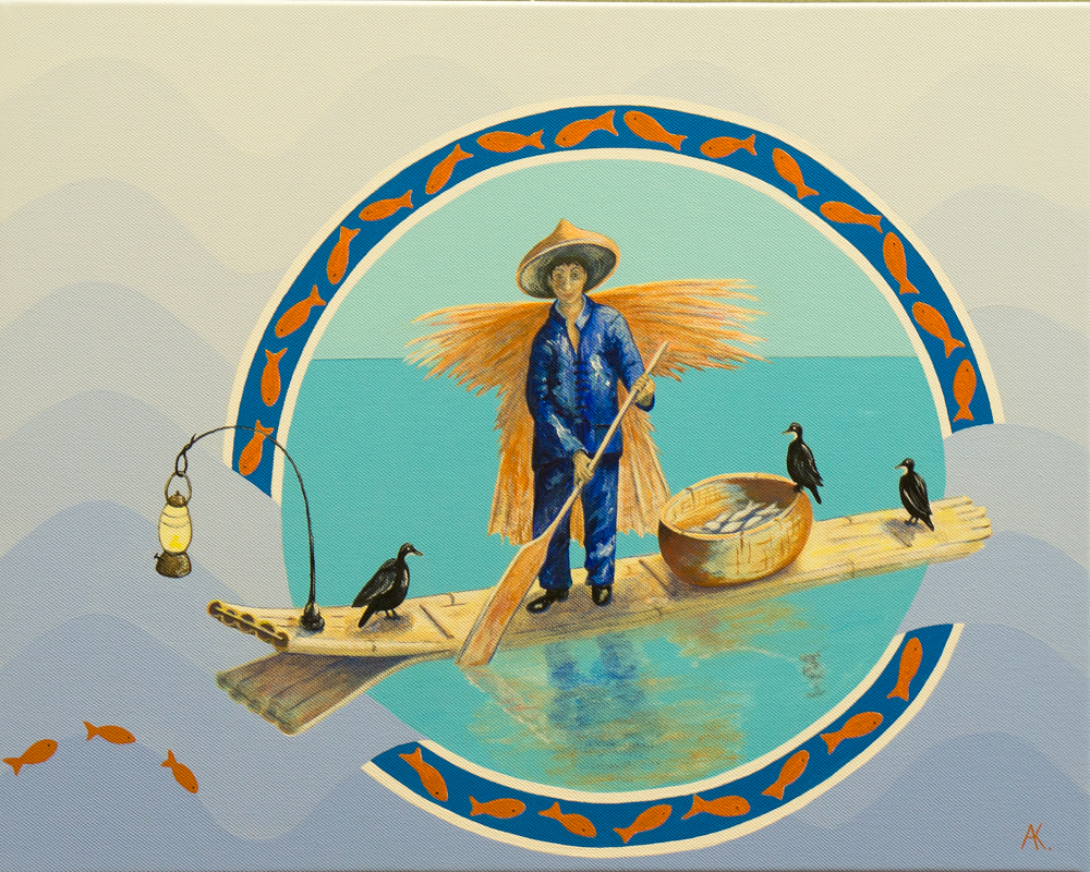 Three cormorants – acrylic
