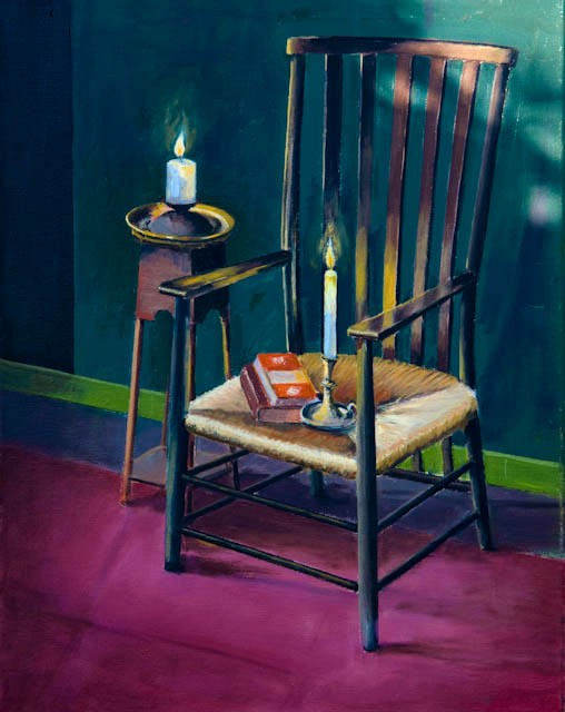 Chair book and candle – oil