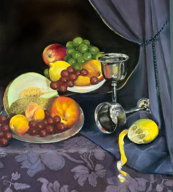 Still life- fruit and silver – pastel