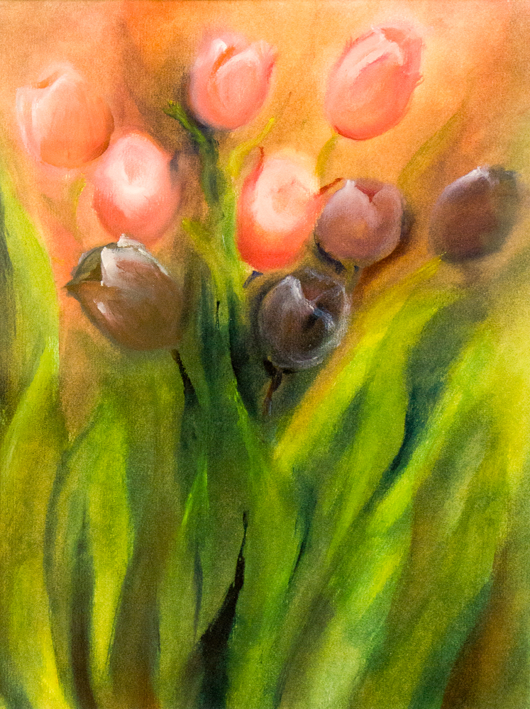Tulips – rag painting in oil