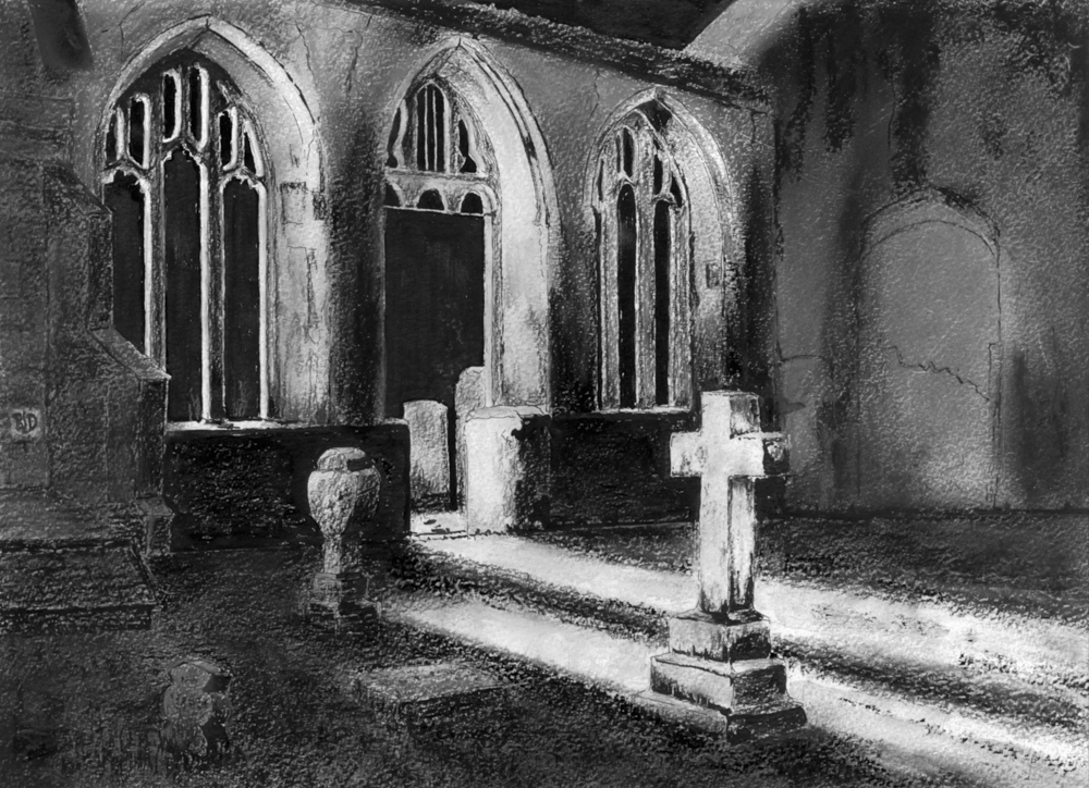 Bicton Old Church – mixed media