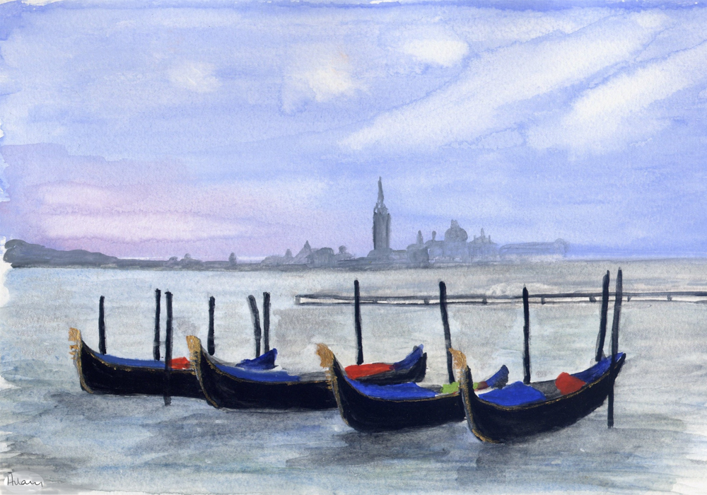 Venice in the dusk – Gouache