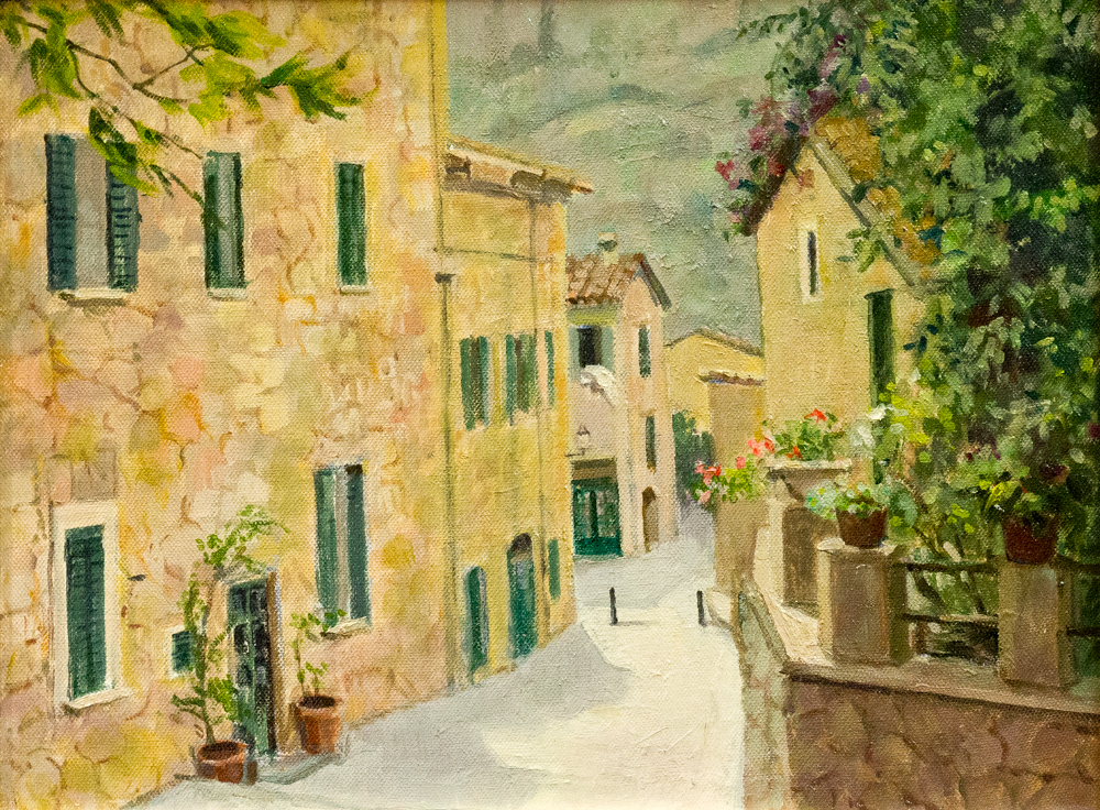 Street scene in Mallorca – Oil – For sale