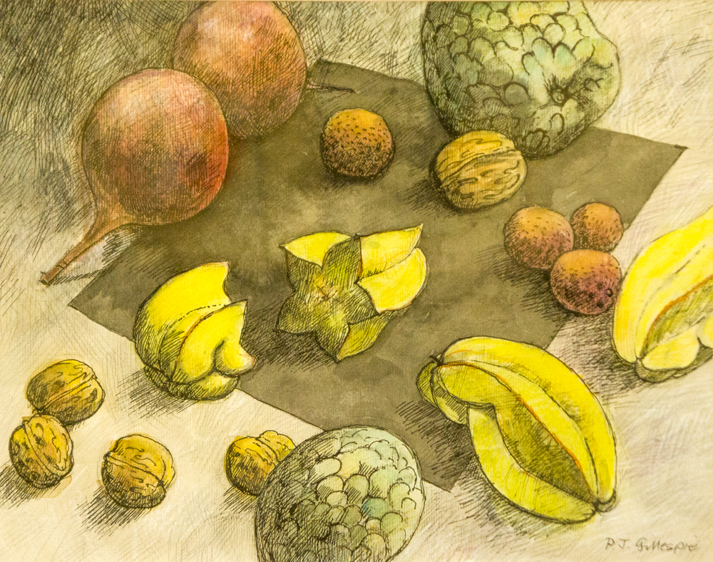 Still life with exotic fruits  – WC & ink – For sale