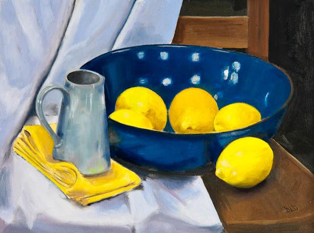 Blue bowl and lemons – oil