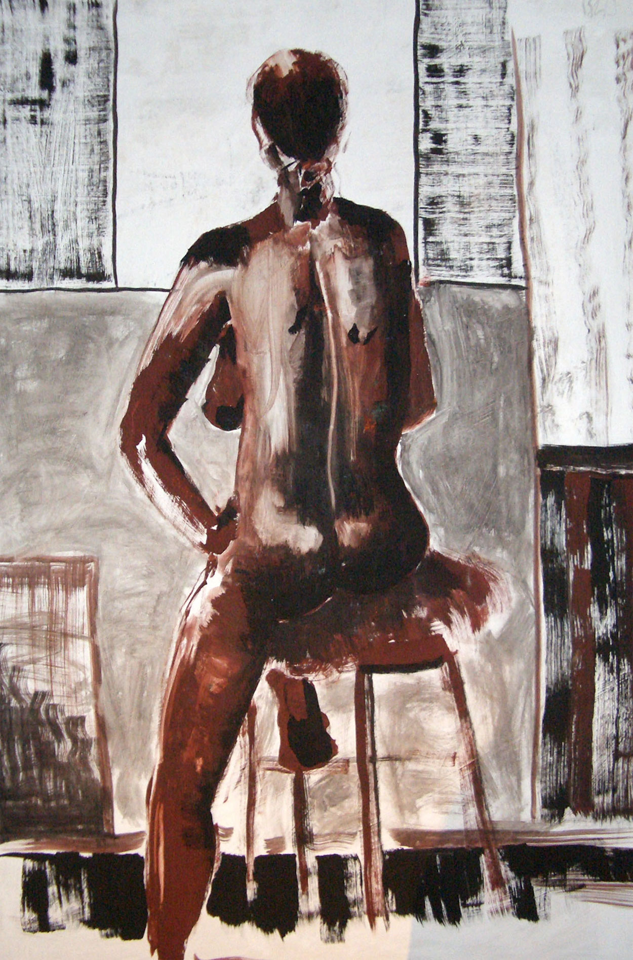 Seated nude – Mixed media