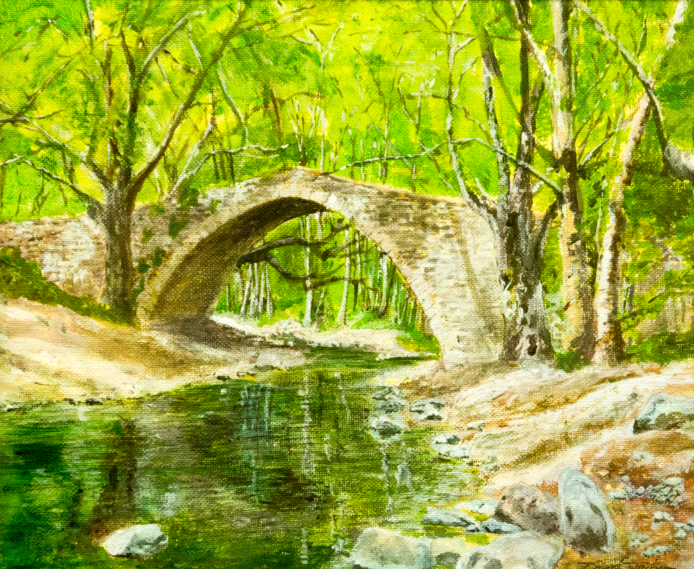David Jackson – Kelephos Bridge, Cyprus. – acrylic